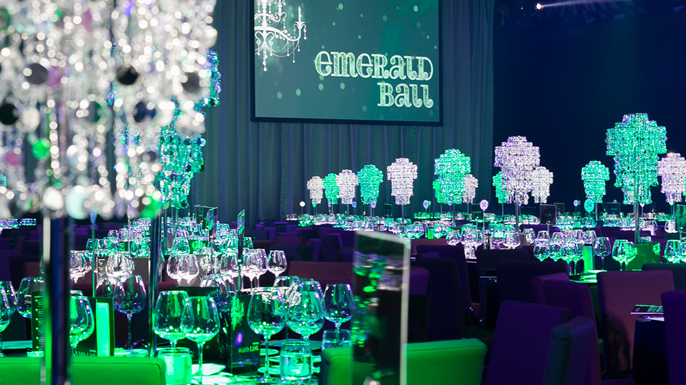 Gala event setup with emerald colour theme