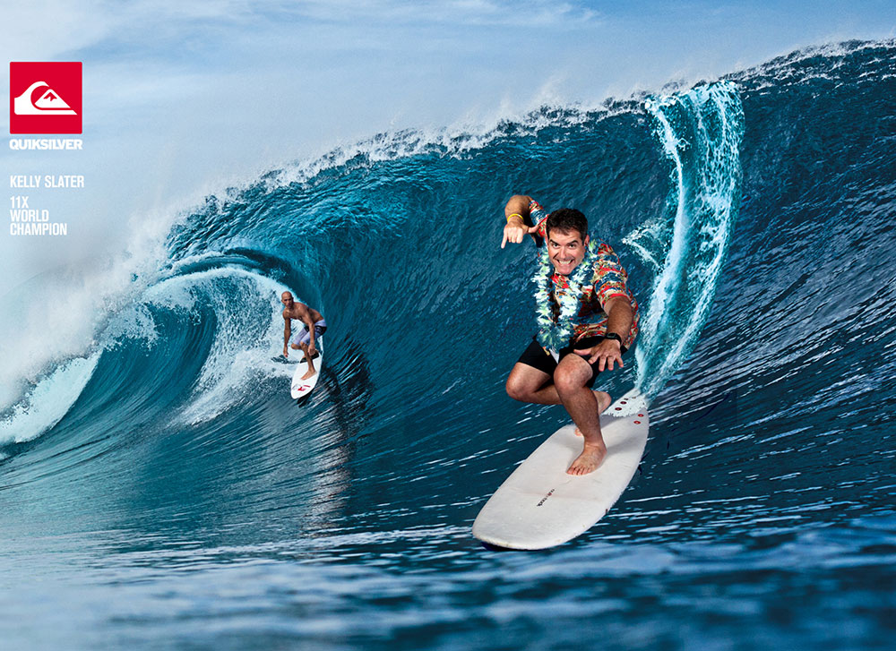 man surfing using green screen photography