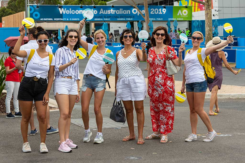 promo staff at Australian open with visitors - pr photography