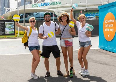 promo staff at Australian open with visitors - pr photos